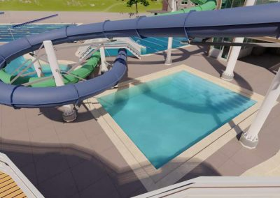 Rendering of water slides for Capital Campaign for Old Town Hot Springs.