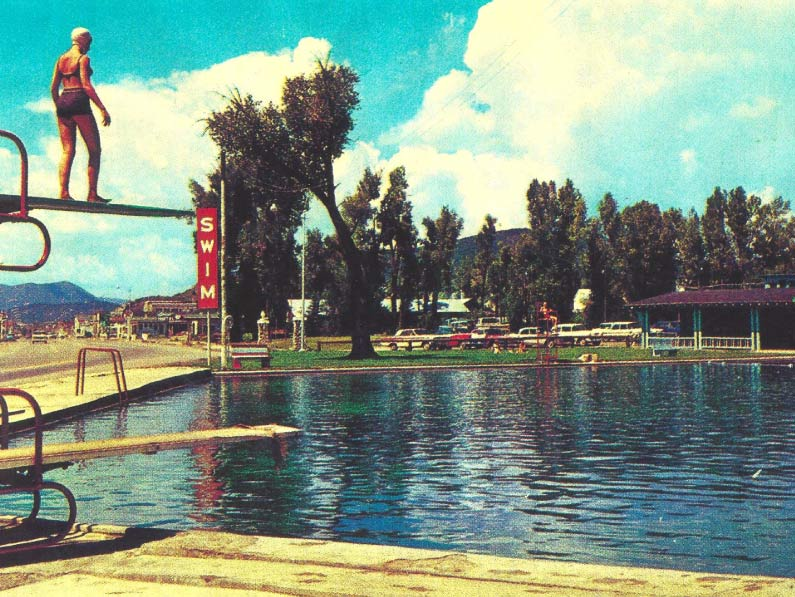 Women on the high dive in a photo of the pool from 1968.