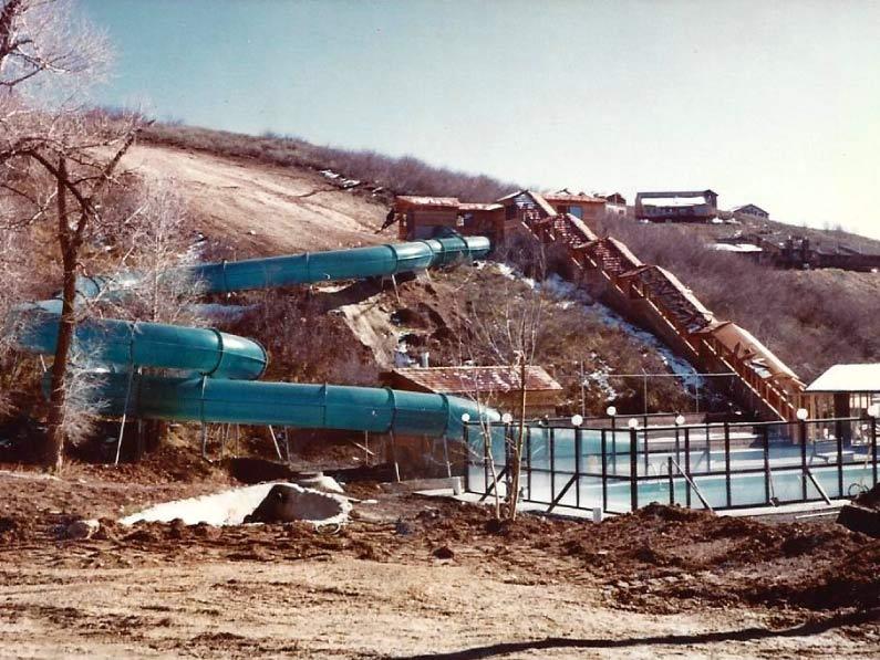 Construction of waterslide in 1981.