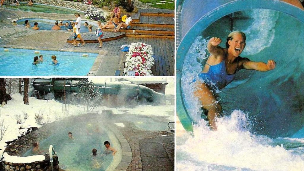 From from 1988 of women coming out to water slide and people enjoying the pools.