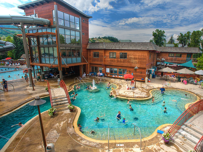 Aerial exterior view of pool at Old Town Hot Springs.